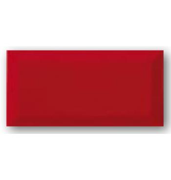 Wandtegel metro 10x20cm, rood glans met facet