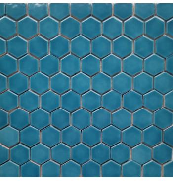 Hexagon mozaïek Turquoise Glad